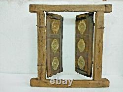 Vieux Vintage Rare Laiton Artisanal, Porte De Fenêtre En Bois En Fer / Porte