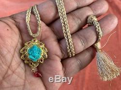 Vintage 22ct Gold Turquoise Ganesha / Elephant Dieu Et Travail Pendentif Rubis Émail