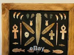 Vintage Alaska Native American Indian Artifact Collection # 2 Encadrée