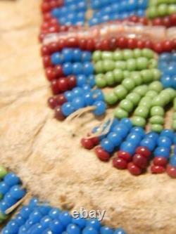 Vintage Antique Années 1890 Arapaho Indien Perlé Mocassins Sinew Semelles Dures Wyoming