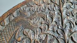 Vintage Antique Asiatique Intricatement Sculptée Paire De Dragons Hardwood Side Table