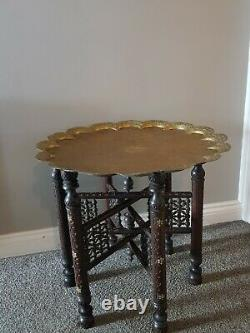 Vintage Antique Brass Top Table / Plateau Table / Folding Side Table /indien