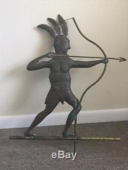 Vintage Antique Copper Amérindien Girouette Indiens Rares Début Des Années 1900