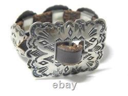 Vintage Antique Navajo Indien Preharvey Lingot Bracelet Sterling Concho Belt Styl