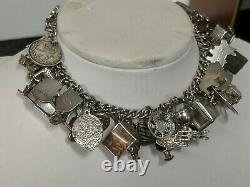 Vintage Argent Sterling 35charmes, Banque De London Check Book Indian House Bracelet