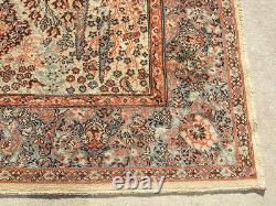 Vintage Belgium Worsted Wool Oriental Rug Carpet Indian Agra Trees Animals 54x77