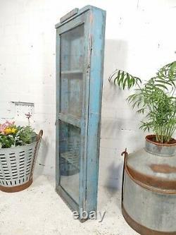 Vintage Bleu Indien Massif En Bois Vitré Affichage Salle De Bain Armoire Murale De Cuisine
