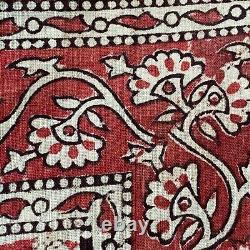 Vintage Block Imprimé Kalamkari Floral Wall Hanging Tissu Rouge Motif Indien