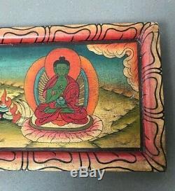 Vintage, Bouddhiste Cinq Dhyana Frieze En Bois. Tibet. Katmandou, Népal