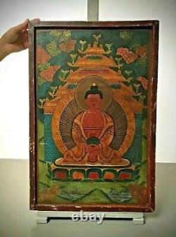 Vintage Bouddhiste Thangka. Tibet. Inde. Népal. Icône Religieuse Sur Le Bois. Plus Grande