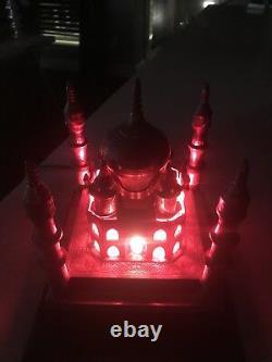 Vintage Brass Taj Mahal Sculpture Trophy Lampe De Table Pré 1967 Working Red Bulb