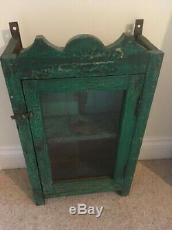 Vintage Cabinet Indien Armoire Meubles En Verre Vert Distressed Antique