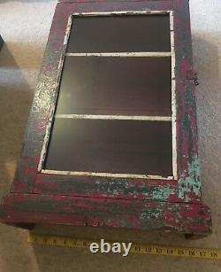 Vintage Cabinet Indien Armoire Meubles Rouge Vert Verre Distressed Antique