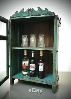 Vintage Cabinet Indien. Art Déco, Turquoise. Affichage, Salle De Bains, Boissons Cabinet