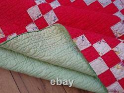 Vintage Christmas Red & Green Irish Chain Quilt 75x75 Cowboy Indian Feedsack