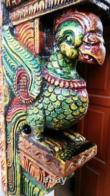Vintage Colorful Peacock Wooden Rare Bracket Bird Sculpted Corbel Paire Statue