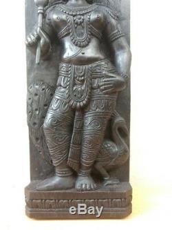Vintage Dieu Hindou Kârttikeya Murugan Peacock Statue Sculpture En Bois Panneau Mural