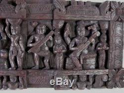 Vintage Du Sud-est Asiatique Sculpté Hindou Main En Bois Frieze Ganesha Et Saraswati