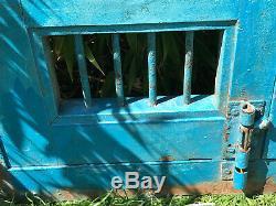 Vintage Fenêtre En Bois De Fer Indiens Jali Panneaux D'écran Rajasthan Articulée Bleu