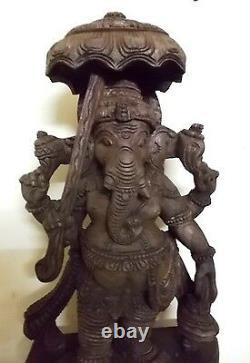 Vintage Ganesha Sculpture Dieu Hindou Ganesh Statue Temple Umbrella Figurine Murti