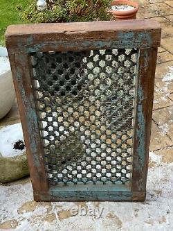 Vintage Grand Indien Teak Wooden Iron Window Jali Écran Récupéré Au Rajasthan 5