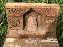 Vintage Grand Sculpté Hindo Sacré Indien En Bois Niche Sanctuaire Ornement Sculpture