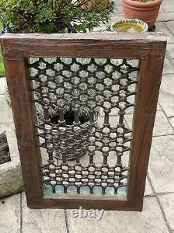 Vintage Grand Teck Indien Fenêtre En Fer En Bois Jali Écran Sauvé Au Rajasthan