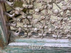 Vintage Grand Teck Indien Fenêtre En Fer En Bois Jali Écran Sauvé Au Rajasthan 9