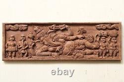 Vintage Hindu Dieu Ganesha Panneau Mural Sculpture Main Sculptée En Bois Indien Diététique
