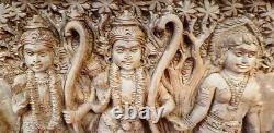 Vintage Hindu Dieu Ram Sita Hanuman Mur Panneau En Bois Temple Statue Sculpture Vieux