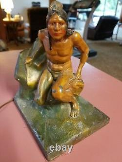 Vintage Indian Armor Antique Armor Bronze Clad War Indian Sculpture Lamp