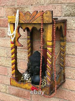 Vintage Indian Sacred Hindu Wooden Shrine Temple Puja Arched Bright Colours