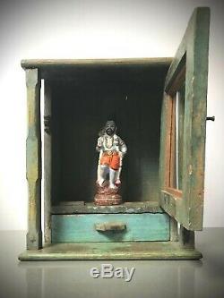 Vintage Indien Accueil Sanctuaire. Art Déco. Salle De Bains / Vitrine Multi-couleur