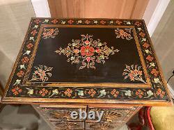 Vintage Indien Peint À La Main Rajasthani Coffre De Tiroirs