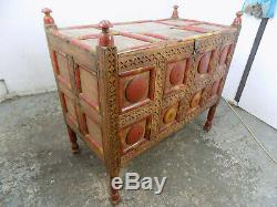 Vintage, Indien, Peint, Fin De Lit, Coffre, Coffre, Armoire, Coffre Couverture, Le Stockage, Le Tronc