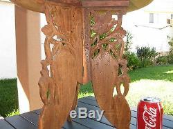 Vintage Indonésie Bois Sculpté À La Main En Teck Table D'appoint En Laiton Inlay 15x15 Grand