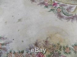 Vintage, Laine, Rectangle, Oriental, Taille De La Pièce, Tapis, Floral, 9' X 12' , Un Grand Tapis, Crème
