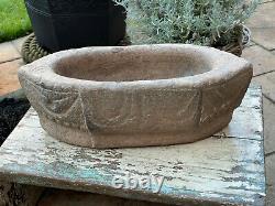 Vintage Large Stone Hand Hewn Carved Kural Rajasthan Grinder Mortier 4.3kgs