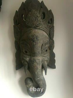 Vintage Main Sculptée En Bois Ganesh Masque Hindou Népalais Bouddha Yoga Méditation