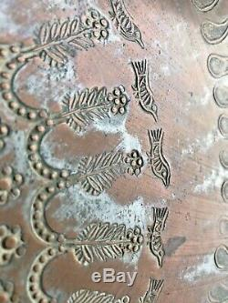 Vintage Marocain Cuivre Gravé Plateau De Table Pliante + Sculpté Support En Bois Inlay