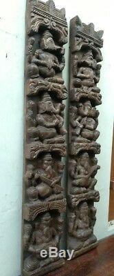 Vintage Musical Ganesh Set Mur En Bois Panneau Vertical Dieu Hindou Panneau Sculpture