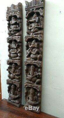 Vintage Musical Ganesh Set Mur Vertical Panneau Sculpture En Bois Dieu Hindou Rare