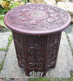 Vintage Octagonal Inlaid Folding Anglo/ Indian Side Table