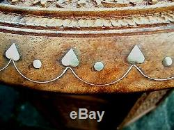 Vintage Octogonal Anglo / Indien Pliant Incrusté Table D'appoint En Bois
