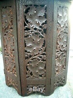 Vintage Octogonal Marqueté Pliant Anglo / Indian Side Table