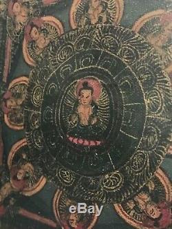 Vintage Old Bouddhiste Mandala. Indien. Népal, Tibet. Icône Religieuse Encadrée