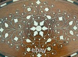 Vintage Oval Anglo/ Indian Inlaid Side Table