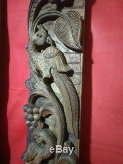 Vintage Panneau Mural En Bois Paire Temple Floral Hindu Peacock Sculpture Décor Porte Des États-unis