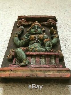 Vintage Parvati Sculpture En Bois Dieu Hindou Mur Panneau Statue Antique Sculpture