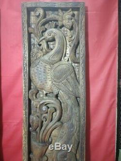 Vintage Peacock Sculpté À La Main En Bois Panneau Mural Vertical Floral Fenêtre Décor Paire